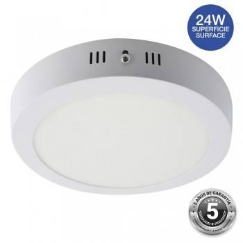Plafón downlight LED 24W redondo de superfície - 5 anos de garantia IP20