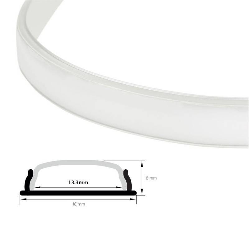 Difusor opalino 18  mm para perfil flexível moldável 18x6  mm (2m)