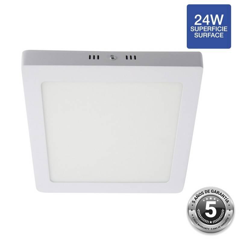 Plafón LED 24W quadrado de superfície - 5 anos de garantia