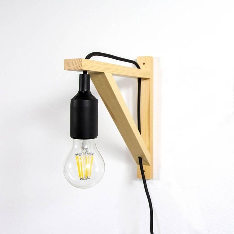 """Aplique de esquadra de madeira para parede """"YOJO"""" com cabo suspenso de silicone"""