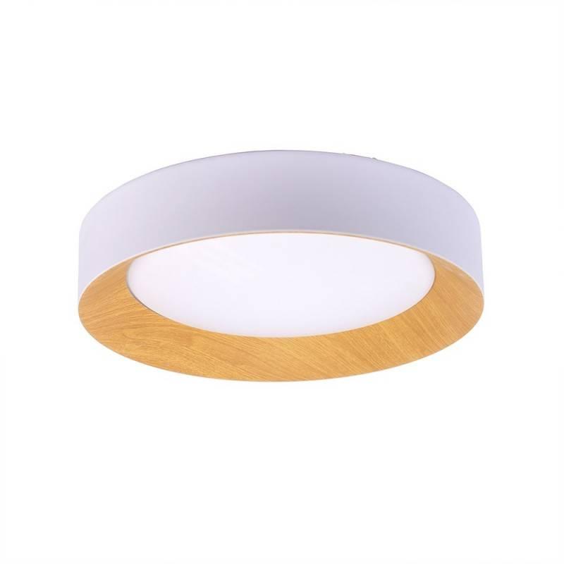 Candeeiro Plafón de teto LED branco + madeira IP20
