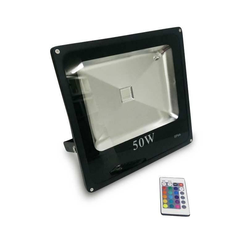 Foco projetor LED RGB 50W IP65 com comando remoto