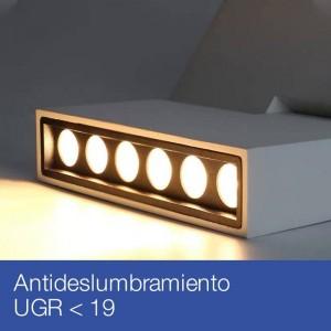 Foco LED para Carril trifásica 30W antideslumbrante UGR19