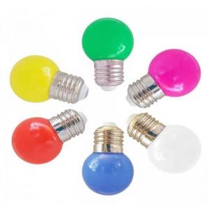 Lâmpada LED E27 1W de cor
