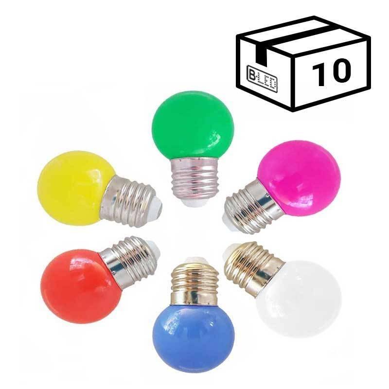 Pack de 10 Lâmpadas LED E27 1W de Cor