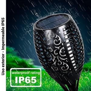 Tocha solar LED com lâmpada efeito fogo IP65