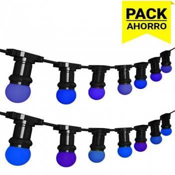 Pack Grinalda Exterior IP44 6,5m com 10 lâmpadas LED da mesma cor