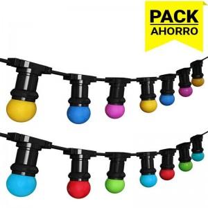 Pack Grinalda Exterior 6,5m com10 Lâmpadas LED de cores mistas