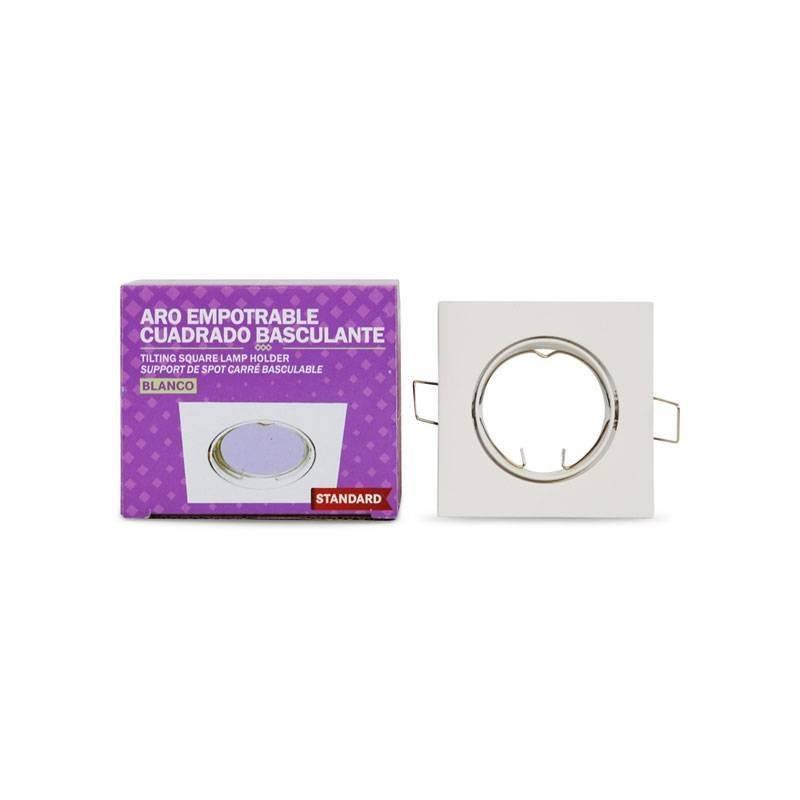 Aro downlight encastrável quadrado basculante para lâmpada GU10 / GU5.3