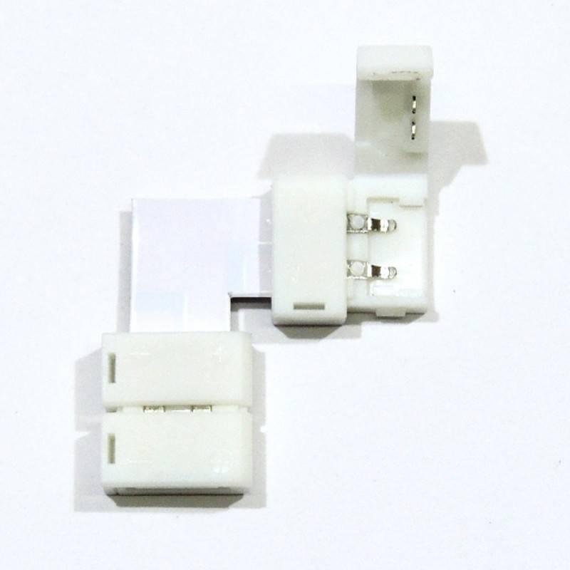 Conector para fitas LED 12V 10mm para esquinas 90°