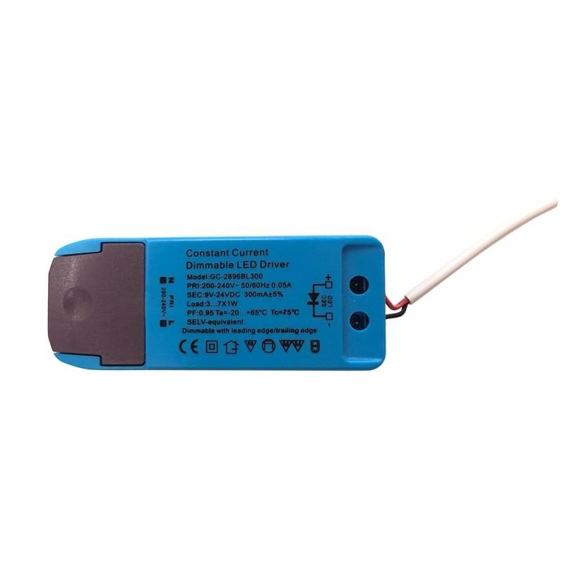 Driver atenuável/ regulável para lâmpada encastrável 7W