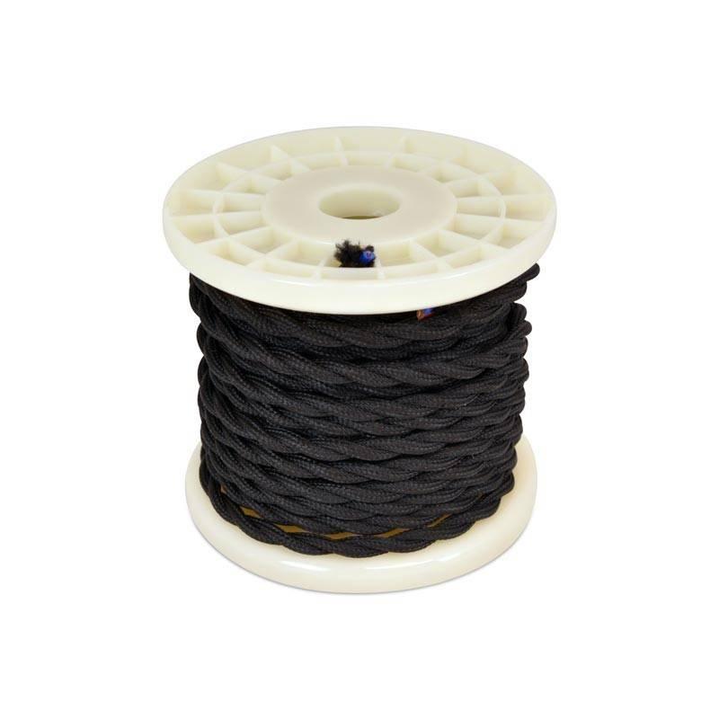 Cabo elétrico decorativo têxtil trançado 2X0,75 preto - 10 metros