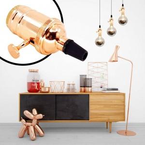 Porta-lâmpada E27 Vintage com interruptor Bronze Rosado / Cromado