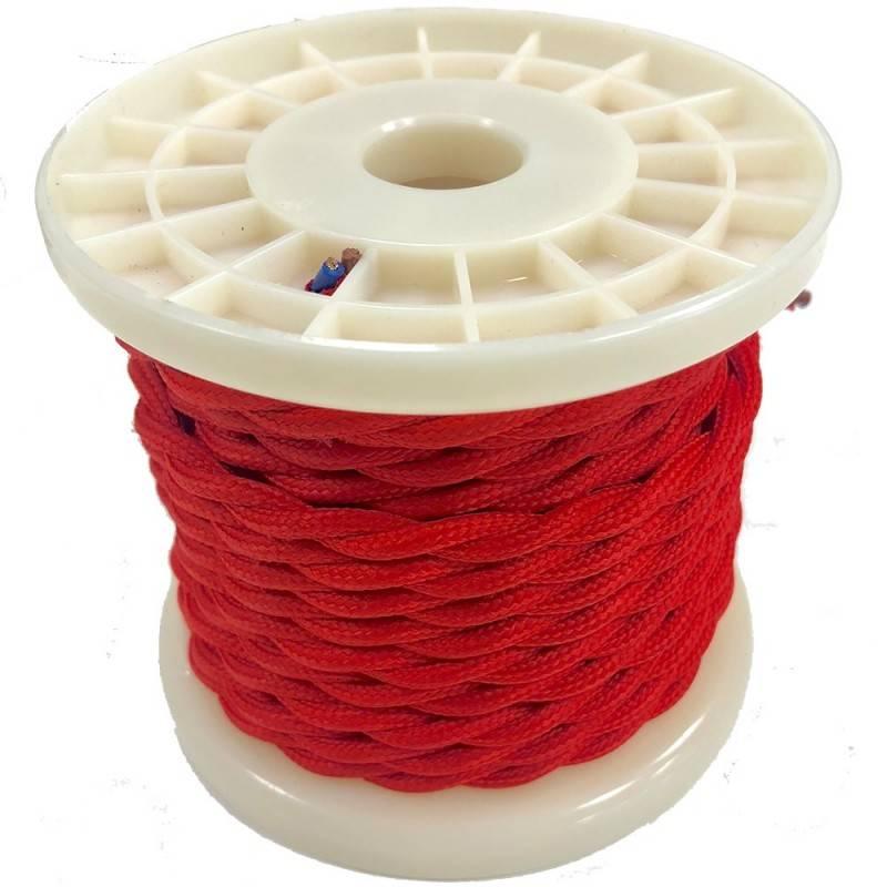 Cabo elétrico decorativo têxtil entrançado 2X0,75 vermelho - 10 metros