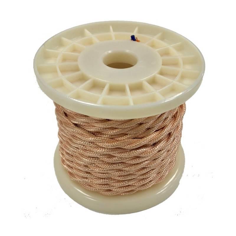 Cabo elétrico decorativo têxtil entrançado 2X0,75 dourado/ rosado - 10 metros