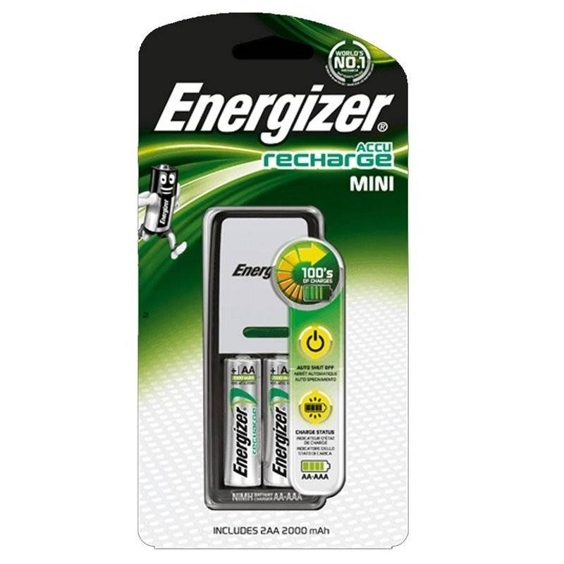 Carregador de Pilhas Energizer 2 HR03 (AAA)  700mAh com 2 pilhas incluídas