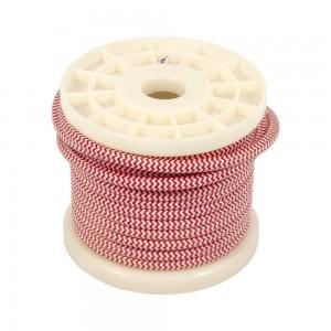Cabo elétrico decorativo têxtil 2X0,75 zigzag branco e vermelho