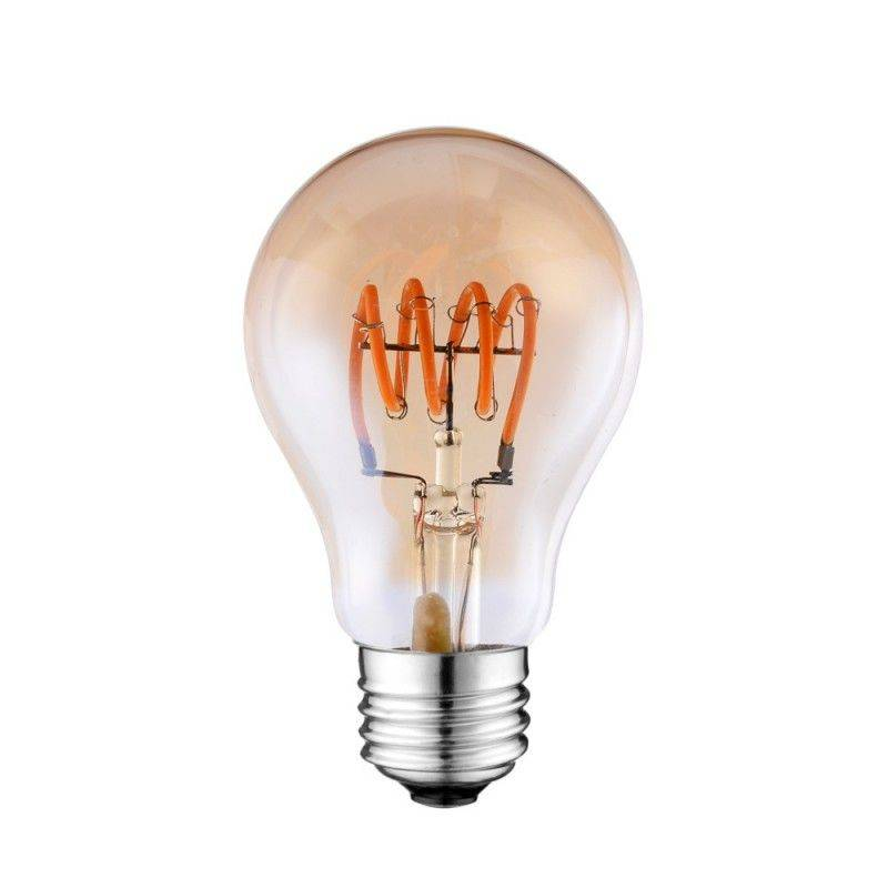 Lâmpada LED Vintage Soft Filament espiral A60 E27 4W regulável