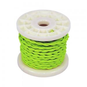 Cabo elétrico decorativo trançado de têxtil 2x0,75 verde fluor