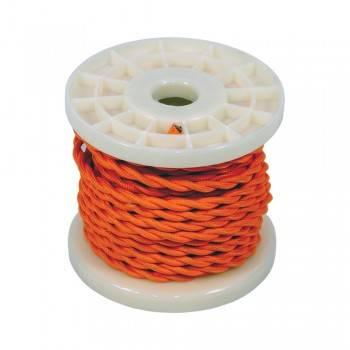 Cabo elétrico decorativo trançado têxtil 2X0,75 laranja