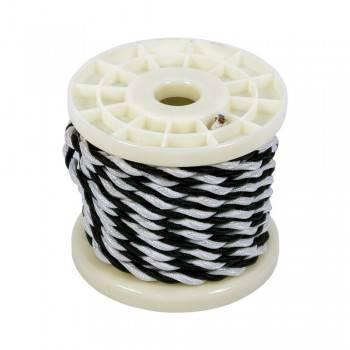 Cabo elétrico decorativo trançado têxtil 2x0,75 preto e branco