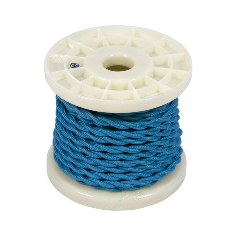 Cabo elétrico decorativo trançado têxtil 2x0,75 azul
