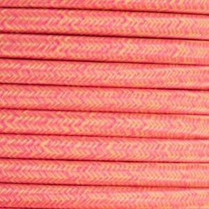 Cabo elétrico têxtil estilo nórdico 2X0,75 cor tigre (rosa e amarelo)