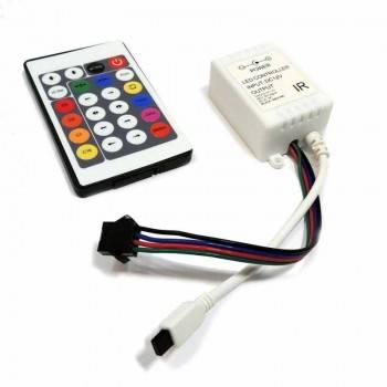 Controlador Fita IC 7,5/12V-DC 8A + comando IR 24 teclas
