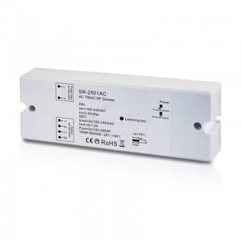 Triac atenuável 100-240V (2 saídas, 1.2A/Saídas) Recetor RF