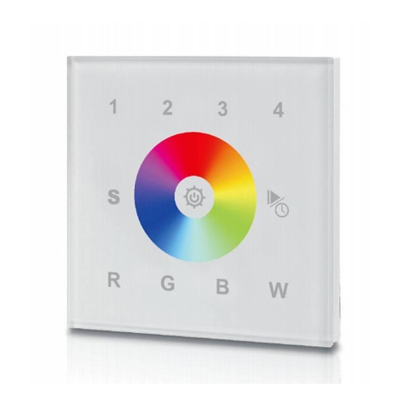 Regulador táctil encastrável RGBW, 12-24V-DC, transmissão RF, 4 zonas