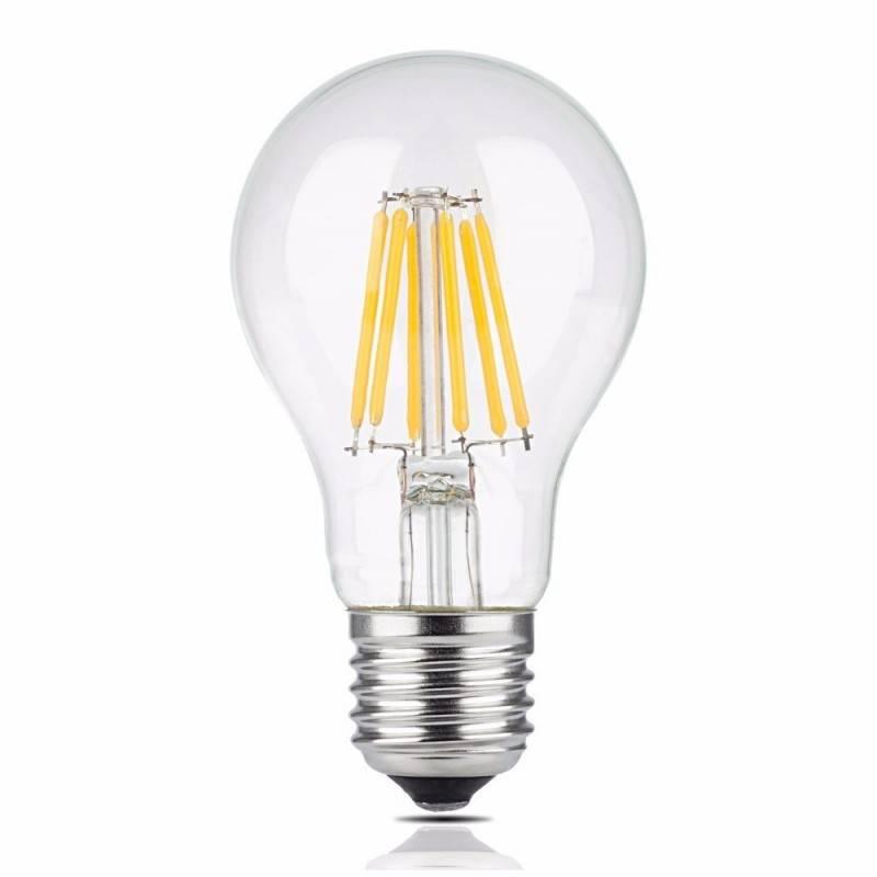 Lâmpada LED de filamento E27 8W A60 transparente