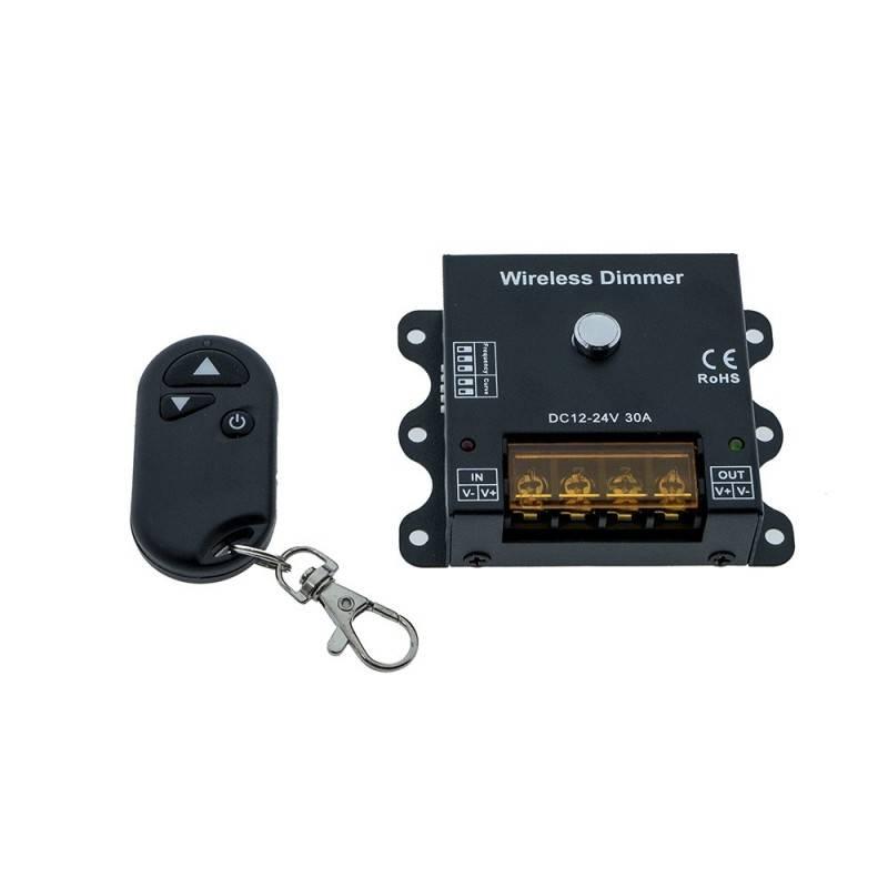 Dimmer PWM wireless de frequência e curva de regulação ajustáveis 12/24V 30A
