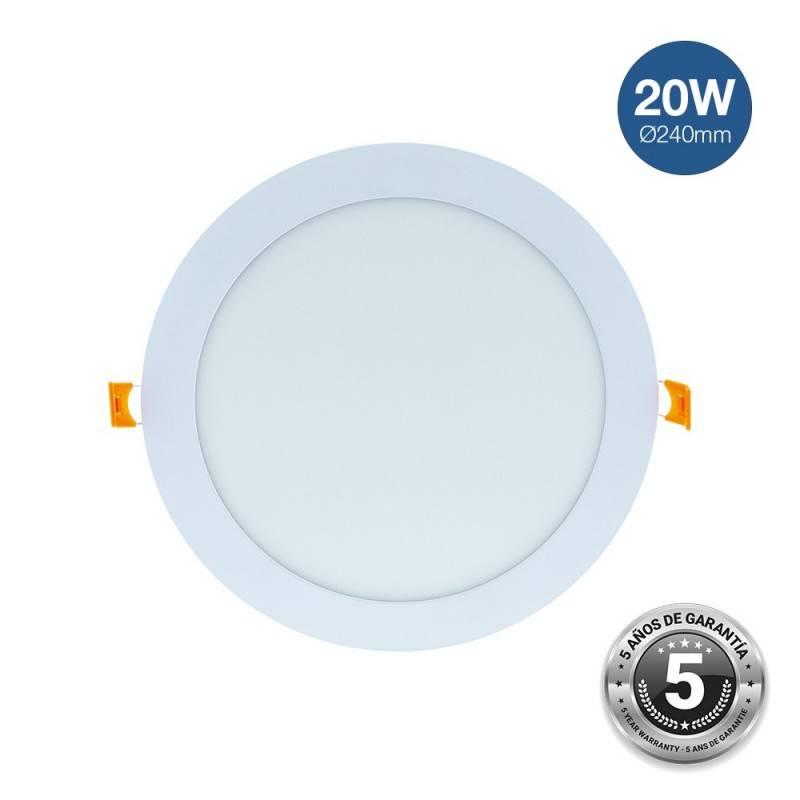 Placa downlight LED encastrável circular 20W - 5 anos de garantia