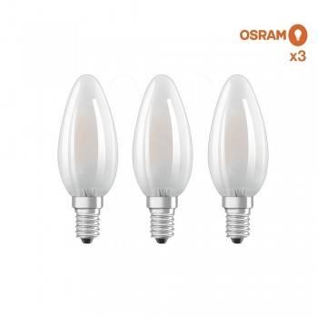 Pack poupança de 3 lâmpadas LED vela OSRAM E14 4W fosco