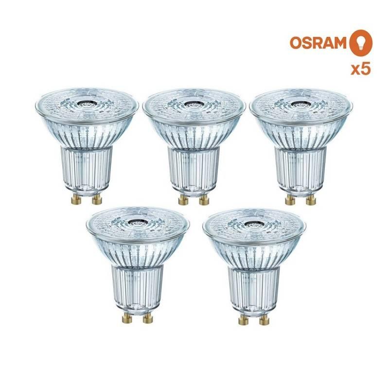 Pack poupança de 5 lâmpadas LED OSRAM GU10 4.3W 36°