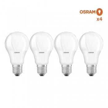 Pack poupança de 4 lâmpadas LED OSRAM E27 A60 8.5W Opal