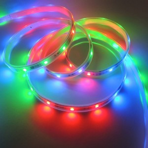 Fita de LED digital IC 36W 12V multicolor RGB IP67 (SMD5050 30ch/m) Rolo 5 metros