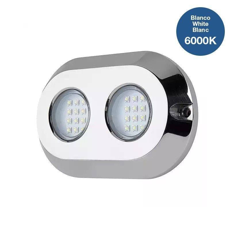 Luz LED subaquática de superfície para barcos 120W 9-32V IP68 aço inox 316L