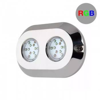 Lâmpada submersível LED RGB para embarcações 120W 12V IP68 inox 316L