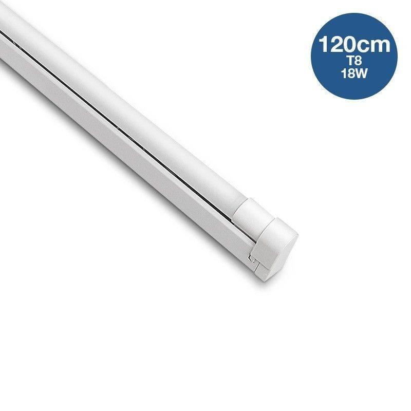 Kit de luminária com porta-tubos e tubo LED T8 120cm 18W IP20