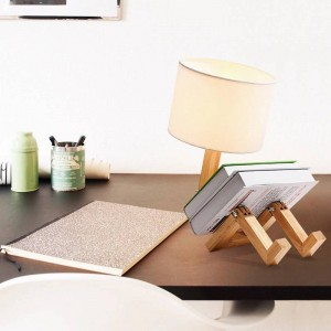 """Candeeiro de mesa articulado de madeira """"YOKI"""""""