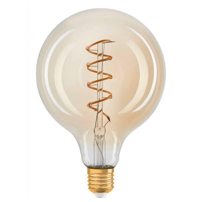 Lâmpada LED Vintage globo filamento espiral E27 G125 4W regulável