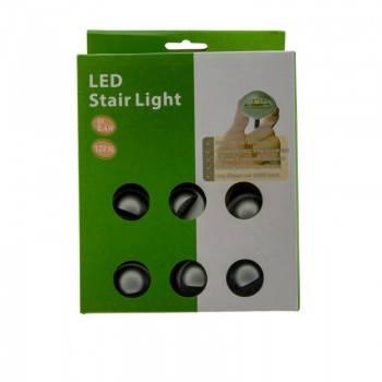 Kit de 6 luzes encastráveis de piso e baliza para escada 0,4W 12V-DC IP67