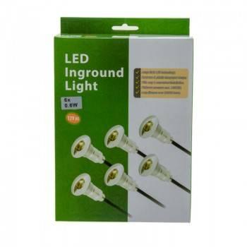 Kit de 6 luzes para escadas encastráveis 0,6W 12V-DC Ø26x41mm IP67