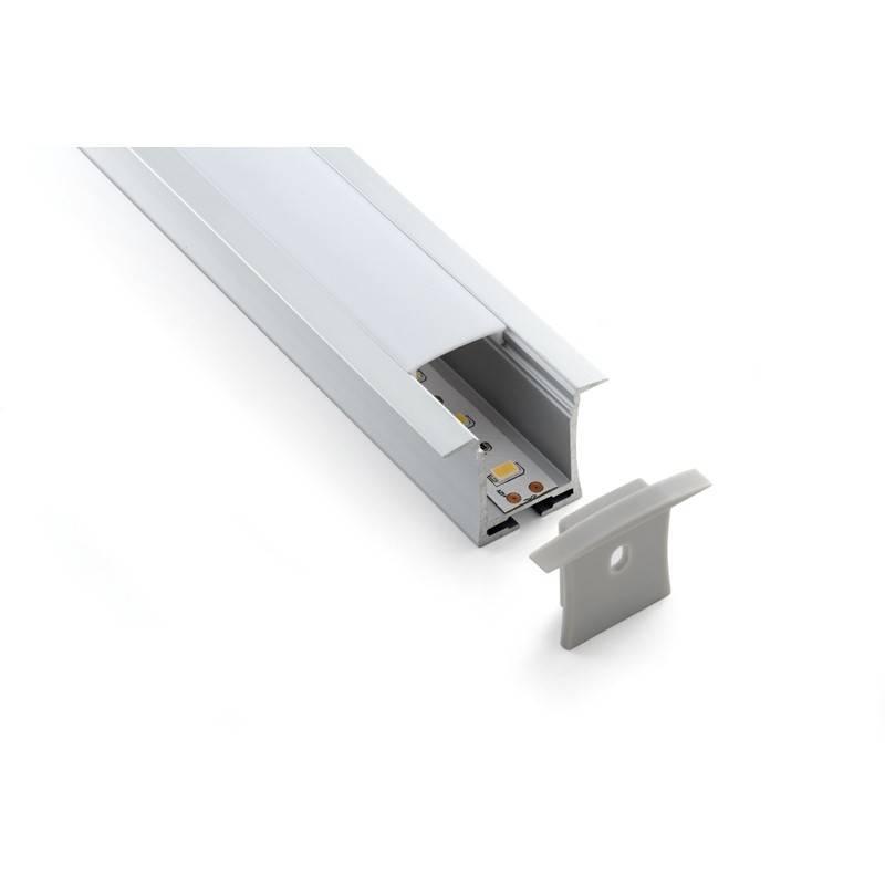 Pack econômico de perfil encastrável em alumínio de 36x28mm